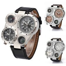 OULM Multi TimeZones 2 Dials Men Sports Military Army Leather Analog Wrist Watch