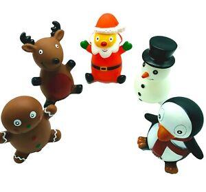 PACK OF 5 CHRISTMAS ASSORTED VINYL SQUEAKY DOG TOYS SANTA, REINDEER, SNOWMAN