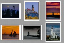 6 Midwest Lighthouse Blank Art Note Greeting Photo Cards Minnesota Wisconsin