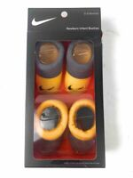 Nike Unisex Kids Pack Of 2 Booties Socks Yellow Stretch Cotton Blend 0-6 M New