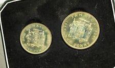 1969 Jamaica 2 coin Proof set - Penny & Half Penny - Original case - HAZY TONING