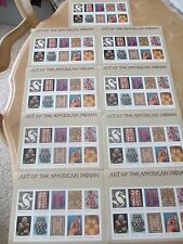 90 New Postage Stamps 9 Sheets of Art of the American ( native) Indian - 90 U.S.