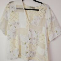 Vintage Susan Bristol Womens Ivory Semi Sheer Knit Sweater Top Floral Button L