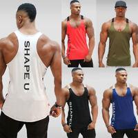 Gym Men Muscle Sleeveless Tank Top Tee T Shirt Bodybuilding Sport Fitness Vest