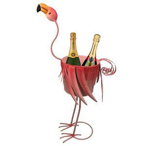 Metal Flamingo Champagne Bucket Ice Bowl Wine Beer Cooler Party Garden Drinks