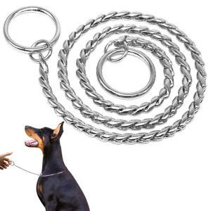 Snake Chrome Chocker Chain Dog Show Collars Dog Training Collar Slip Heavy Duty