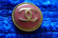 One Stamped Chanel button 1 pieces   metal cc logo 0,8   inch 20  mm  peach