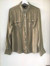 J.Crew Khaki Green Button Long Sleeved Shirt Blouse 100% SILK Size M Size 12