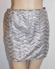 Angel Baby Designer Silver Sequins Evening Skirt Size S BNWT #TB98