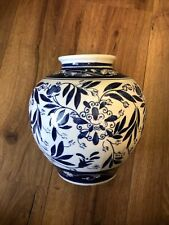 White And Blue Vintage Country Vase