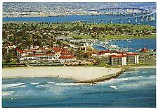 "1970s AERIAL VIEW HOTEL DEL CORONADO,BEACH&BRIDGE,SAN DIEGO~UNUSED 5x7"" POSTCARD"
