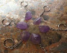 Amethyst Tumble Stone Keychain (Keyring) Reiki Crystal Healing, Purple