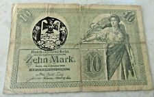 German 10 ZEHN MARK BANKNOTE 1914 IRON CROSS WW1 ~5