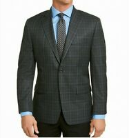 Michael Kors Mens Sport Coat Blue Gray Size 44 Short Slim Fit Plaid $295 515