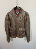 "ARMANI Leather Bomber Jacket - Medium 42"" - Brown - Great Condition - Mens"