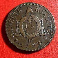 #1589 - RARE - Louis XVI 1 Sol aux balances 1793 BB Strasbourg Qualité - FACTURE