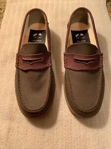 Cole Haan Men's Nantucket Canvas Penny Loafers Size 7M Forest Green & Brown New