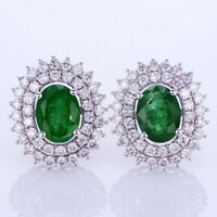 3.10CT Emerald and Diamond Earrings 18K White Gold