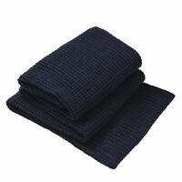 PRIVATE COLLECTION Langley Navy Knitted Throw Rug 150 x 200cm BRAND NEW
