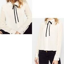 NWT ZARA DOUBLE SHIRT BLOUSE WITH BOW COLLAR SIZE XS ECRU CREAM REF. 8195/057