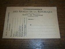 Carte correspondance des armées 14-18 vierge