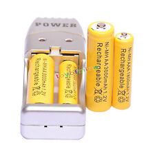 2+2x AA AAA 3000mAh 1800mAh Batería recargable de 1.2V amarillo + Cargador USB