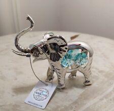 Swarovski Light Blue~White Crystals & Silver-Tone Elephant Figurine~Ornament