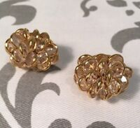 Signed Monet Gold Tone vintage Estate saleCrystals Cluster Clip on Earrings #200