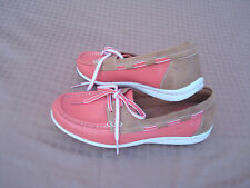 New Crark Beige Pink Coral Genuine Leather Women Moccasins Loafers Shoes 81/2