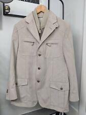 Italy Tailor CORNELIANI I.D Cream Beige Suede Look Sports Jacket Blazer 50 R £££