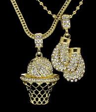"Mens 14k Gold Plated 2 pc Set BasketBall Boxing Pendants 24"" Ball Franco Chains"