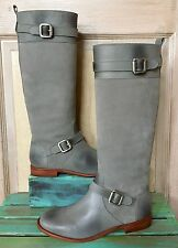 Candela boot riding tall gray Leather Suede Tall Moto 7.5