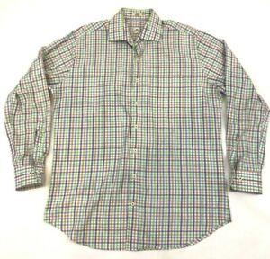 Peter Millar Gingham Plaid Long Sleeve Button Down Shirt - Large