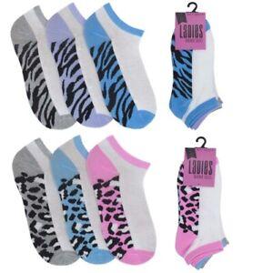 **SALE SALE SALE**  3 Pairs Ladies Animal Print Trainer Liner Sports Socks SK486