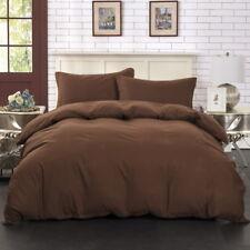 Brown Color Quilt Cover Doona Duvet Queen King Size Bedding Set Soild Pillowcase