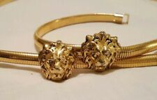 "36"" Vintage 1980's Double Lions Head Goldtone Metal Stretch Belt Vguc"