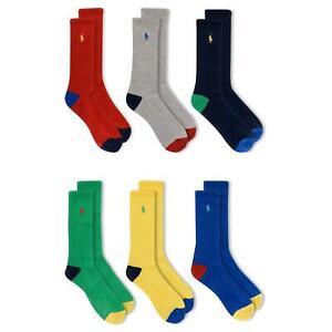 Polo Ralph Lauren Men's 6-Pack Rainbow Athletic Crew Sock