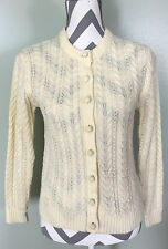 Vintage Tally Ho Creation Womens Cream Yellow Cable Knit Sweater Cardigan Sz 36