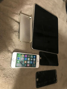 iphone 32gb unlocked (works) & iPhone 6s (for parts),and as is ipad (parts)
