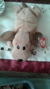 Bones The Beanie Baby Dog 1st Gen. Tush tag and 3rd get  Hand tag