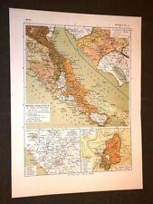 Carta cartina estratta da Atlante del 1890 Latium Vetus et Roma Urbs Lazio Roma