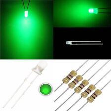 25 diodi led 3 mm VERDE lente bianca foggy luce diffusa + 25 resistenze