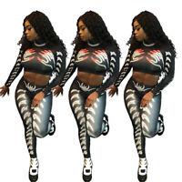 Stylish New Women's Long Sleeves Printed Crop Top Skinny Long Jumpsuit 2pcs Club