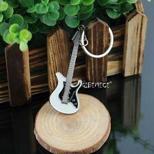 Guitarra Llavero Unisex Blanco y Negro de la Guitarra llavero clásico Hebilla