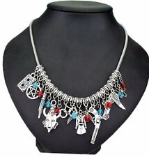 Supernatural TV Series (12 Themed Charms) Silvertone Charm Necklace