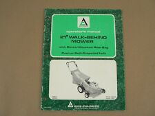 """Allis Chalmers 21"""" Walk Behind Mower Owners Manual Maintenance Set Up 1980"""