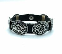 Vintage Navajo Sterling Silver Concho & Leather Bracelet