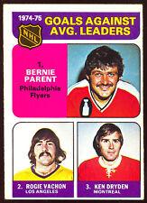 1975 76 O PEE CHEE OPC 213 BERNIE PARENT ROGIE VACHON & KEN DRYDEN EX-NM LEADERS