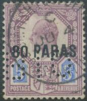 GB BRITISH LEVANT 1902 King EVII 5d overprinted for LEVANT w 80 PARAS VFU PERFIN