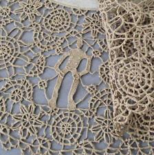 """Antique Hm Italian 22"""" Linen + Lace Centerpiece Reticella Needle Lace w Figures"""